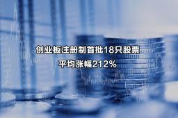 创业板注册制首批18只股票平均涨幅212%